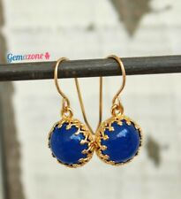 Royal Natural Blue Agate Cabochons Dangle Drop Gemstone Gold Filled Earrings