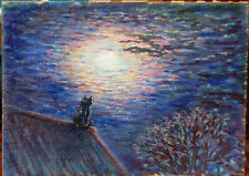 The cat and Fullmoon ORIGINAL OIL Painting on cardboard LANDSCAPE WALL decor ART