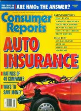 1992 Consumer Reports Magazine: Auto Insurance/HMO Plans/Washing Machines/Tennis