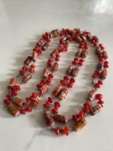 Vintage Venetian Glass Red Bead Necklace  Long Flapper