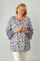 YESSICA Womens Ivory Navy Floral Tunic Top Blouse Lace Tie Neck | SALE | RRP £24