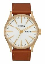 Nixon Men's Sentry A1052621-00 42mm White Dial Leather Watch