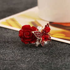 Red Rose Flower Butterfly Resin Crystal Rhinestone Ring Adjustable Jewelry