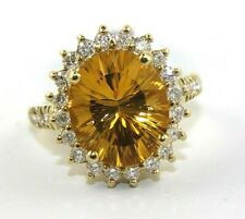 Oval Citrine & Diamond Halo Solitaire Ring 14K Yellow Gold 5.91Ct