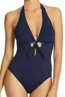 NWT Amoressa A Venetian Affair Murano Navy Halter One Piece Swimsuit Size 10