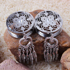1Paar 8-14mm Edelstahl Dream Catcher Flesh Tunnel Traumfänger Plug Ohr Piercing