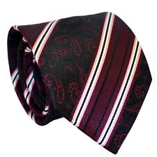100% Silk Red Paisley Jacquard Woven Wedding Party Office Formal Men Necktie