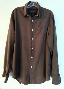 Tommy Bahama Mens Brown Sandwashed Tencel Shirt Button Up Long Sleeve L 4-Stitch
