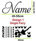 Fairies Wall Sticker Custom Name Butterflies Stars Removable Vinyl Personalised