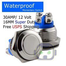 12VOLT METAL WATERPROOF MOMENTARY PUSH SWITCH 30A16mm HORN STARTER SWITCH BUTTON