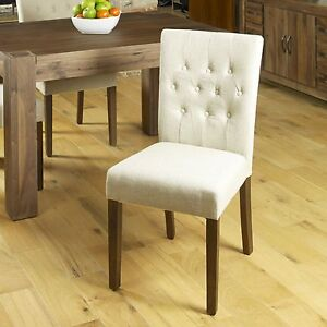 Shiro solid dark wood furniture set of four flare back biscuit dining chairs