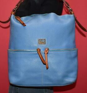 DOONEY & BOURKE DILLEN Perwinkle Blue Leather Shoulder Hobo Shopper Purse Bag