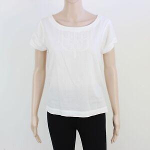 Jack Wills Womens Size 10 White Light Cotton Short Sleeve Top