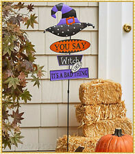 New listing You Say Witch Like Its Bad Witch Hat Halloween Yard Stake Metal Lawn Ornament