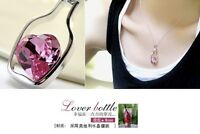 Fashion Glass Wishing Bottle Pendant Love Heart Necklace Crystal Jewelry Gift