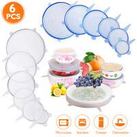6 Pcs Reusable Silicone Stretch Lids Food Kitchen Storage Cover Pan Bowl Stopper