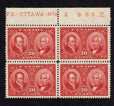 CANADA 1927 20c CARMINE PLATE No 2 BLOCK OF FOUR SG 273 MNH.
