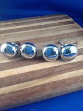 Four Polished chrome Cabinet Knobs NOS 1 1/4""