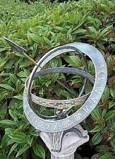 """RELOJ SOLAR """"Anillos"""" Escultura De Bronce Para Jardín RESISTENTE HELADAS"""