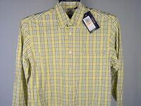 Izod Shirt S Mens Long Sleeve Yellow White Blue Plaids & Checks New NWT Preppy