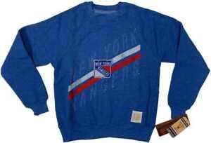 New York Rangers Retro Brand YOUTH Blue Fleece Lined Long Sleeve Sweatshirt