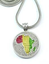 """Africa Pendant Full Stone Silver Men's Necklace 36""""Franco Chain New#1"""
