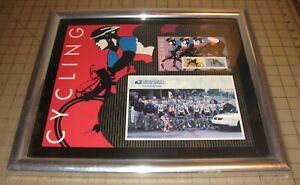 "2000 USPS Pro-Cycling Team Framed Photo and Postage Stamps 15"" x 13"" Framed Art"