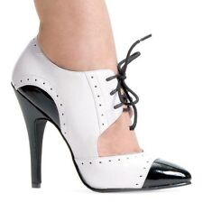 """ELLIE SHOES 511 GANGSTER 5"""" STILETTO HIGH HEEL POINTY SHOE BOOTS LACE UP"""
