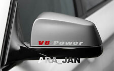 2 - V8 POWER Racing Sport Vinyl Decal sticker logo mirror SILVER/RED