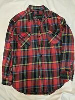 Vintage Dickies Mens Red Flannel XL Long Sleeve Button Down 100% Cotton