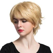 Women Girls Short Bob Straight Blond Wig Real Human Hair Wigs Heat Resistant