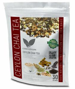100% pure Ceylon Masala Chai Masala Tea Organic Herbals 30 BAGS Burns Fat