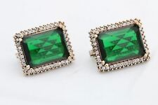 925 Sterling Silver Turkish Jewelry Rectangle Shiny Emerald Topaz Stud EarRings