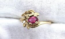 14Kt REAL Yellow Gold Oval Red Tourmaline Gemstone Gem Stone Ladies Leaf Ring