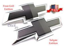 2 Pcs Set Black Front & Tailgate Bowtie Emblem GM Chevy Silverado 1500 2500 3500