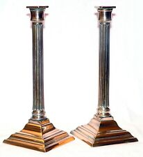 Pr candlestick, George III, Neoclassical, English, brass,Classical column, c1780