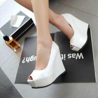 Women Platform Wedge High Heels Casual Peep Toe Pumps Lady Shoes Fashion Slip On