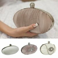 Nude Ivory Satin Diamante Ladies Clutch Bag Wedding Prom Party Evening Races New