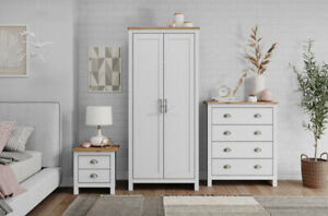 Solid Wood Bedroom Furniture Wardrobe Chest of Drawers Bedside Table Trio Set