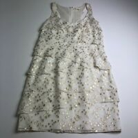 Shoshana Women's Multi-layer Cocktail Dress Size 2 Beige Gold Metallic Scoopneck