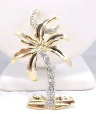 over Miami Rhinestone Brooch Pin Gold (W) Egypt Egyptian Revival Palm Tree Moon
