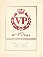 Vintage VICTORIA PLAZA Hotel Restaurant Menu