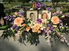 "Lavender Peach Memorial 42""L Tombstone Saddle Silk Graveside Burial Photo Frame"