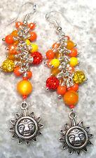Earrings / Yellow Agate, Orange Glass 925 Sterling Silver Long Sun Chandeliers