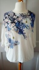 ️Phase Eight White/Blue Linen Mix Oversized Lagenlook Floral Jumper Top. Large.