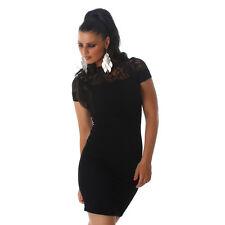 Sexy Stretch minivestido vestido acanalados estructura fiesta vestido de encaje talla 38 negro