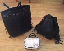 3 PC GREAT VICTORIA'S SECRET BLACK BACKPACK&PURSE FRINGE BONUS MAKEUP BAG