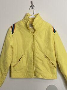 Vintage Rare 70s ROFFE Yellow Nylon Ski Coat Jacket USA Womens Size Large