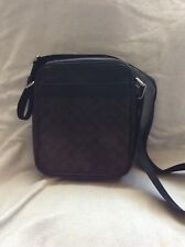 NWT Coach Brown Black Signature Men's Flight Bag Crossbody PVC Messenger F54788
