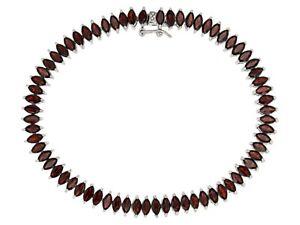 "Sterling Silver Bracelet Garnet Tennis Marquise 7.5"" 13g Rhodium JTV 925#1362"